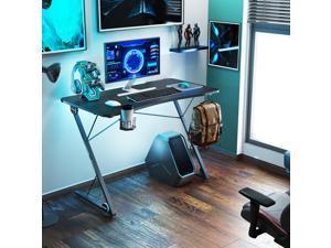 43'' Z-Shaped Gaming Desk E-Sport Gamer Workstation Ergonomic PC Gaming Table with LED Lights,Large Carbon Fiber Surface,Game Handles Holder,Cup Holder,Headphone Hook and Cable Management