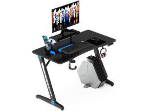 47.2 Inch Z-Shaped Gaming Desk Home Office Computer Desk Gamer Workstation with Monitor Stand Carbon Fiber Surface Gamer Table with RGB Lights Cup Holder Headphone Hook Plug Board Holder