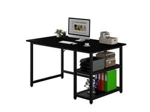 """47"""" Modern Simple Style Home Office Computer Desk Study Desk Writing Desk with Reversible 2 Tiers Storage Shelves Black"""