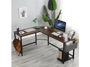 """66"""" L Shape Desk Computer Desk Study Writing Table Home Office Desk Gaming Desk with Bag Hook and Cloth Drawer Storage Bag,Wood & Metal Pella Oak"""