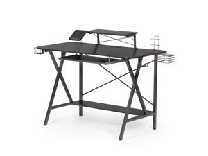 """47.2"""" Gaming Desk Table E-Sports Computer Desk with PC Stand Shelf Keyboard stand Power Strip with USB Cup Holder & Headphone Hook Home Office Desk Gamer Desk Writing Table Carbon Fiber Coated Black"""