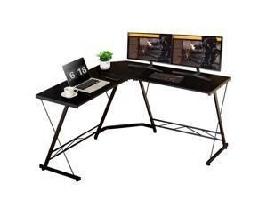 """51"""" L Shape Desk Computer Desk Study Writing Table Home Office Desk Gaming Desk Metal Frame Black"""