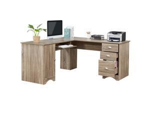 63.3'' L-shaped Home Office Desk Computer Desk Gaming Desk Corner Desk Large Workstation Writing Study Table with Ample Storage Space,Large Desktop,Letter-size Drawer,Computer Host Cabinet,Brown