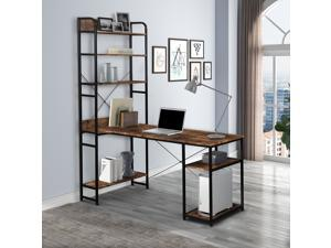 Home Office Computer Desk Gaming Desk with Steel frame and MDF Board,5 Tier Open Bookshelf,Plenty Storage Space