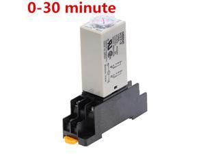 1pcs H3Y-2 DC 12V 24V /AC 110V 220V Delay Timer Time Relay 0 - 30 Minute with Base 5A