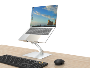 """Tyris Laptop Stand for Desk, Height Adjustable up to 20"""" Sit to Stand Ergonomic Computer Stand, Laptop Riser Laptop Holder, Tall Laptop Stand for MacBook, Laptops 10-17"""", Silver"""