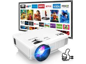 DR. J Professional HI-04 Mini Projector Outdoor Movie Projector with 100Inch Projector Screen, 1080P Supported Compatible with TV Stick, Video Games, HDMI,USB,TF,VGA,AUX,AV