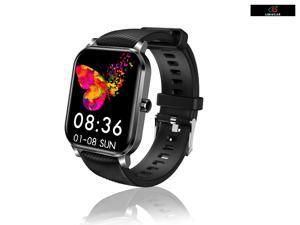 """Smart Watch Full Touch 1.4"""" Display Square Temppered Screen Sports Fitness Tracker Heart Rate Sleep Blood Oxygen Monitor Waterproof Smartwatch Watch iOS Android Phone Men Women Kids Teens Black"""