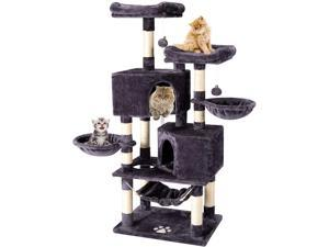 Multi-Level Cat Tree Tower Condo with Cat Scratching Post Cozy Hammock Basket Hideaway House and Platforms, Kitty Activity Center Kitten Play House, Large Cat Tower Furniture