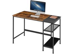 Industrial Computer Desk with Storage Shelves, 47 inch Modern Sturdy Writing Desk, PC Table with Grid Drawer, Home Office Desk Workstation for Home Office, Vintage