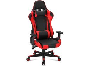 Gaming Chair Computer Game Chair Office Chair Ergonomic High Back PC Desk Chair Height Adjustment Swivel Rocker with Headrest and Lumbar Support Lumbar Pillow,Red