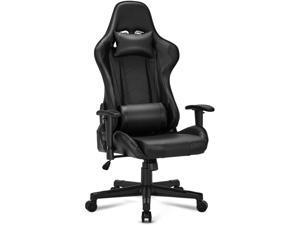 Gaming Chair Computer Game Chair Office Chair Ergonomic High Back PC Desk Chair Height Adjustment Swivel Rocker with Headrest and Lumbar Support Lumbar Pillow,Black