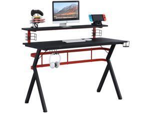 Erommy Computer Desk, 47 Inch Gaming Desk, Professional Gamer Desk Table with Speaker Stand, Controller Stand, Headphone Hook and Storage Basket, Gaming Workstation Desk, Black