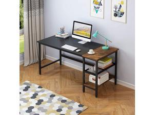 Erommy 62 inch Industrial Computer Desk with Storage Shelves, Modern Sturdy Writing Desk, PC Table with Grid Drawer, Home Office Desk Workstation for Home Office