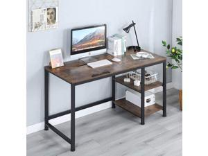 """Erommy 55"""" Multi-Function Drafting Drawing Table with 2-Tier Storage Shelves Computer Desk with Adjustable Tiltable Stand Table Board for Artist, Home Office"""