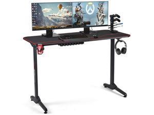 Erommy 55inch Gaming Desk, T Shaped Computer Desk, Office Desk with Cup Holder & Headphone Hook, Professional Home Office Writing Desk with USB Gaming Handle Rack & Full Desk Mouse Pad