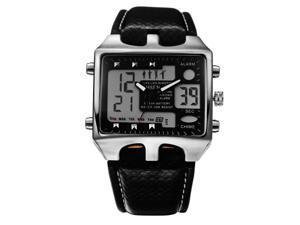 Men Sports Alarm Waterproof Analog Digital Stainless Steel Buckle WristWatch