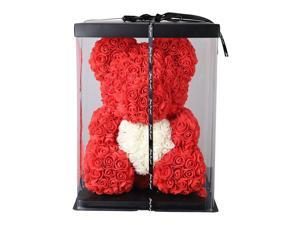 """Rose Teddy Bear with Heart - 16"""" Flower Bear - Gift For Mothers Day, Valentines Day,Friends Birthday Anniversary & Bridal Showers Weddings Gift Box"""