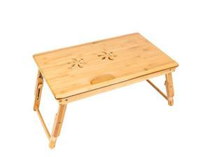 Balight 53cm Trendy Double Flowers Engraving Pattern Adjustable Bamboo Computer Desk Wood Color