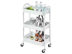 Balight 3 Tier Storage Cart Kitchen Bathroom Mobile Shelving with Wheel clamp white