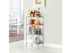 Balight Rectangle Carbon Steel Metal Assembly 4-Shelf Storage Rack Silver Gray