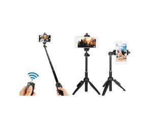 Balight Phone Tripod,25'' Extendable Lightweight Aluminum Portable Adjustable Camera Stand  With Wireless Remote Selfie Stick,Compatible for iPhone Android smartphones and cameras