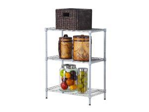 Balight Concise 3 Layers Carbon Steel & PP Storage Rack Silver