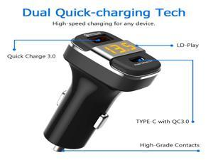 Brightup Type-C USB Car Charger, 18W 2-Port Fast Charging Adapter with PD&QC3.0 Compatible for Samsung Galaxy S20 Plus/Ultra/S20/S10/S9/Note 20/10, iPad Pro, Google Pixel, iPhone 12/11/Pro/Max
