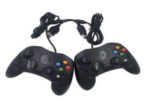 2 packs Xbox Classic Controller S-Type Wired Gamepad for Xbox S Type Console (Black)