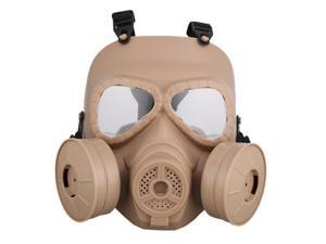 Brightup Airsoft Tactical Protective Mask, Safety Full Face Eye Protection Skull Dummy Toxic Gas Mask with Adjustable Strap for BB Gun CS Cosplay Costume Halloween Masquerade No Batteries 2 Filter
