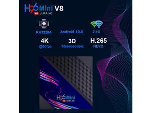 H96 Mini V8 Android 10.0 Smart TV Set Top Box 2GB RAM 16GB ROM Quad Core 4K 2.4GHz WiFi TV Box for Youtube Media Player , US PLUG