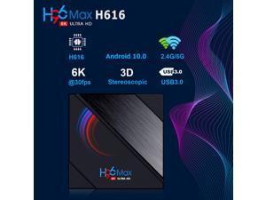 H96 Max H616 Android 10.0 Smart TV Box 4GB RAM 64GB ROM Quad Core 4K 2.4/5GHz WiFi TV Box Multimedia Player,  US PLUG