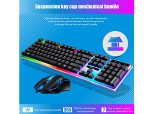 Brightup Wired Gaming Keyboard and Mouse Combo, Led Rainbow Backlit Keyboard Quiet Metal Keyboard & Gaming Mouse for PS5/PS4/Xbox/Pc Gamer/Computer/Laptop