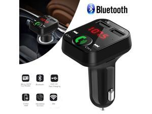 Brightup Bluetooth 5.0 FM Transmitter for Car, 3.0 Wireless Bluetooth FM Radio Adapter Music Player FM Transmitter/Car Kit with Hands-Free Calling and 2 USB Ports Charger Support USB Drive