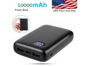 Brightup Portable 10000mAh LCD Power Bank External 2 USB Battery Charger For Cell Phone