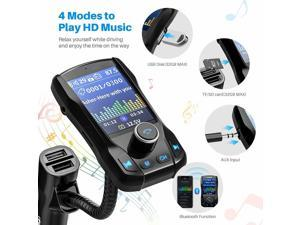 """Brightup Car Bluetooth Transmitter, Strong Microphone Bluetooth Car Radio Adapter with 1.8"""" Color Screen for Hands Free Calls, Supports QC3.0 Charging, Treble and Bass Sound Music Player"""