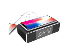 [2021 New Upgraded] Brightup 6 IN1 Wireless Electric LED Alarm Clock, Wireless Phone Charger with Bluetooth Speaker, with Digital Thermometer, with FM radio, with USB charging port, with Speakerphone