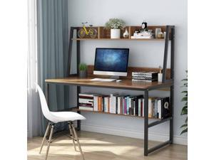 """Computer Desk with Hutch and Bookshelf, 47"""" Home Office Desk PC Laptop Table Workstation Study Writing Desk, Modern Desk with Storage Shelves, Space Saving Desk for Small Spaces"""