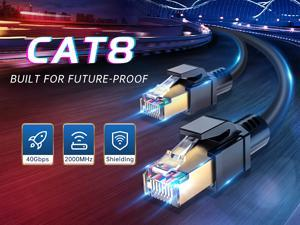 CAT8 Ethernet Cable 25ft, Shielded Ethernet Cable, High Speed 26AWG Cat8 Network Internet LAN Cable 40Gbps, 2000MHz with Gold Plated RJ45 Connector, Heavy Duty Weatherproof for Router, Modem, Gaming
