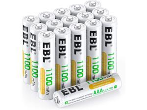 EBL 16-Pack AAA 1100mAh High Capacity Rechargeable Batteries 1.2V Ni-MH 1200 Cycles with Battery Case