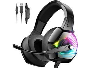 ONIKUMA Gaming Headset-PS4 Headset with Mic 7.1 Surround Sound & RGB LED Light Xbox One HeadsetGaming headphones PC Headset with Noise Canceling for PS4 PC Mac Xbox One (Adapter Not Included)