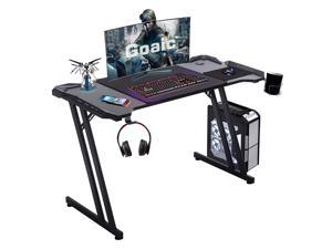 """Goaic Gaming Desk Computer Desk, 47"""" Home Office Table Gamer PC Workstation Game Station, Cup Holder and Headphone Hook, Free Mouse Pad(Black)"""