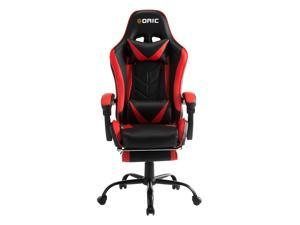 Goaic PC Gaming Chair Racing Style 135° Adjustable Reclining Ergonomic Design Gaming Chair with Footrest Headrest and Lumbar Pillow Support for Home,Office,Gamer Chair with Lumbar Support (Black/Red)