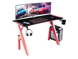 Goaic 47 Inch Gaming Desk with LED Lights Gaming Table Ergonomic PC Computer Desk , Professional Gamer Desk with Large Carbon Fiber Surface, Home Office Game Table with Cup Holder & Headphone Hook