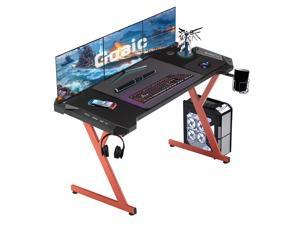 Goaic Gaming Desk 47 Inch Racing Style PC Gaming Table, Ergonomic Gaming Computer Desk with Carbon Fiber Surface Gamer Desk, Home Game Office Desk with Free Mouse Pad, Cup Holder & Headphone Hook