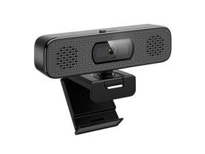 Goaic L32B 2K HD Webcam with 2 Speakers & Built-in Microphone for Computer Laptop, 90 Degree View Angle Autofocus Computer Camera with Privacy Cover for Live Streaming, Video Calls, Games