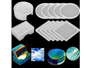 12 Pieces Coaster Resin Molds Set Silicone Coaster Storage Box Mold in Rectangle Round Silicone Epoxy Casting Mold for DIY Art Craft Cup Mat
