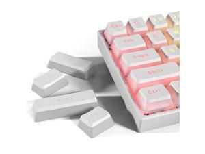 Ractous 108  Double Shot Backlit PBT Pudding keycap for  gaming Mechanical  Keyboard  Set with Puller for DIY Cherry MX RGB  Gateron Outemu  Switch  Compatible with standard US(ANSI) layout   (White)