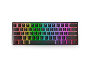 Ractous RTK61 60% Mechanical Gaming Keyboard with PBT Pudding keycap, RGB Backlit Hot Swappable Type-C 61Key ultra-Compact keyboard with Full key Programmable -Black ( Gateron Optical Blue Switch)