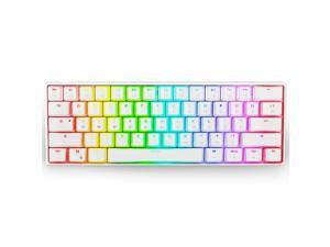 Ractous RTK61 60% Mechanical Gaming Keyboard with PBT Pudding keycap, RGB Backlit Hot Swappable Type-C 61Key ultra-Compact keyboard with Full key Programmable -White (Gateron Optical Black Switch)